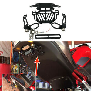 Motorcycle License Plate Bracket with LED Light Tail Tidy Fender Eliminator Motorcycle Adjustable License Plate Holder for YAMAHA R3