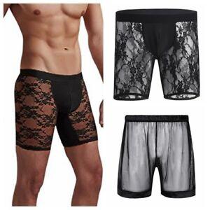 853d0d2cac9 Soft Mens Fishnet Mesh Sheer See Through Boxer Briefs Shorts Pants ...