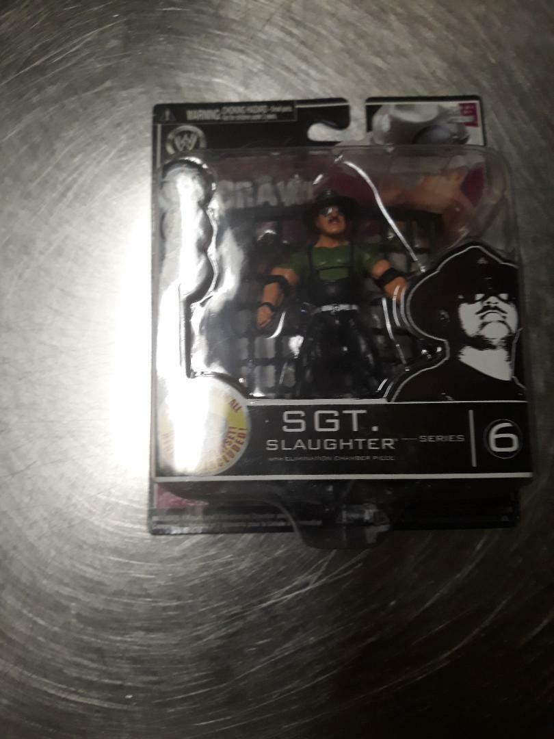 Jakks WWE Sgt. Slaughter Build Brawl 6 3 34 GI Joe Super Rare