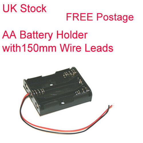 3 AA Battery Holder with Leads single AA Cell size
