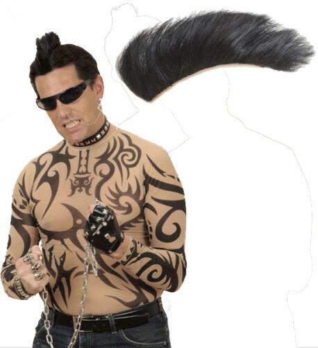 Punk Irokese zum Aufstecken schwarz NEU Karneval Fasching Perücke Haare