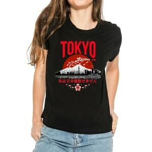 Tokyo-I-don-039-t-speak-Japanese-Women-039-s-T-Shirts-Tops-Cotton-Short-Sleeve-Tee-white