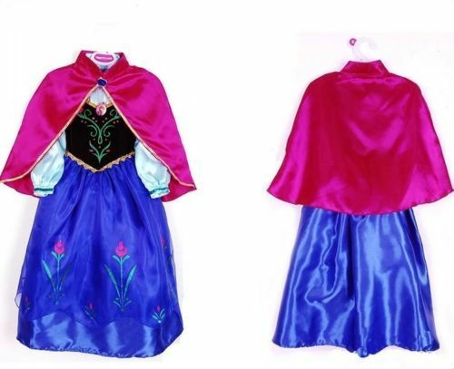 Kids Girls Anna Princess Queen Cosplay Party Costumes Birthday Gift Fancy Dress