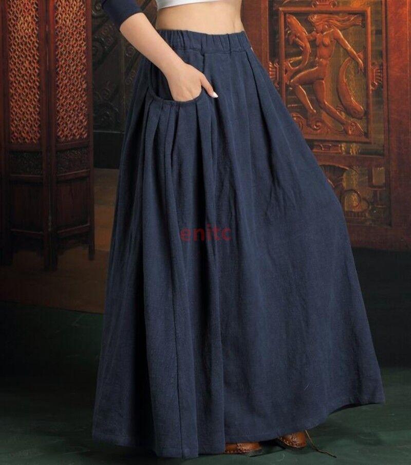 Retro Fashion Flax Cotton Linen Womens Pleated Skirt Full length Skirt M L XL