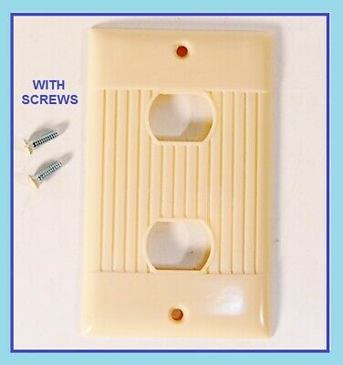 NOS Vintage ART DECO IVORY Bakelite Switch Wall Plate Cover Mid Century SCREWS