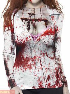 Adult Ladies Zombie Female T-Shirt Woman Halloween Top Fancy Dress Costume 12-18