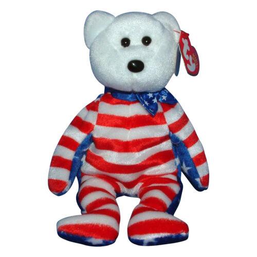 MWMT Ty Beanie Baby Liberty white Patriotic Bear White Head 2001
