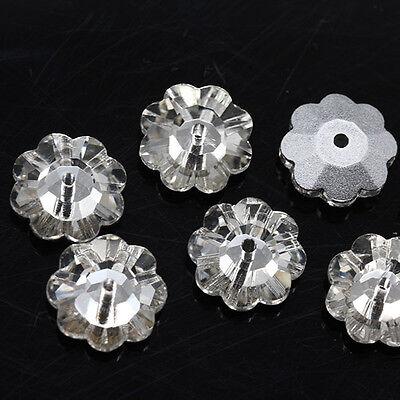 72 Plum Flower Sew On Glass 1Hole Crystal Rhinestone Silver Flatback 6/8/10/12mm