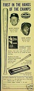 1957-Mickey-Mantle-Hank-Aaron-Yankees-Braves-Louisville-Slugger-Baseball-Bat-AD