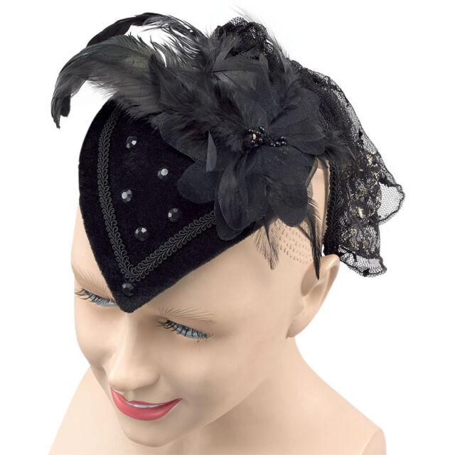 LADIES GOTHIC BLACK RIDING  TEAR DROP HAT ADULT HALLOWEEN FANCY DRESS  FASCINATOR a7b4ffd0604