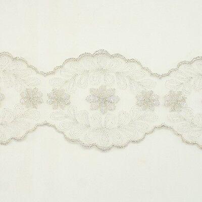 Metallic Venise Trim Lace #244- Embroidered Trim Bridal Wedding Card Decoration