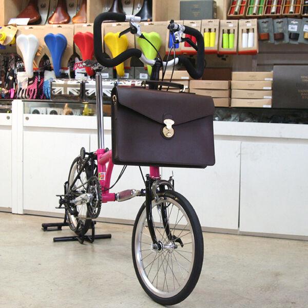 Naborsa Brompton bag Brown Genuine Leather bicycle front bag Handmade briefcase