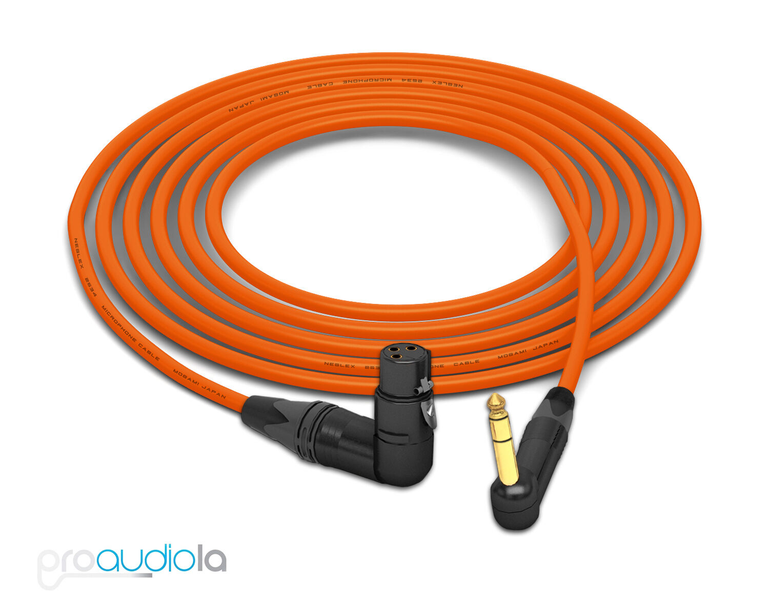 Mogami 2534 Quad Cable Neutrik gold 90º TRS to 90º XLR-F orange 35 Feet 35'