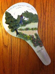 "Doris Morgan Artist Resin May All Your Dreams...Cottage VANITY HAND MIRROR 10.5"""