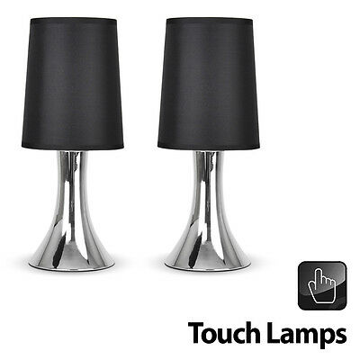 Pair of Modern Silver Chrome  Black Touch Lounge  Bedside Table Lights Lamps