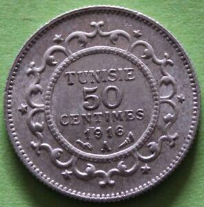 TUNISIE-50-CENTIMES-1916-A-ARGENT