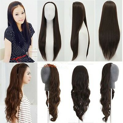 fashion women half wig long straight curly wavy black brown hair 3/4 wig clip in