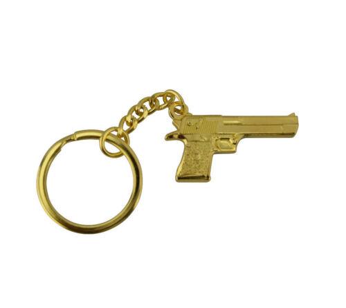 Keyring Keychain Gun Silver Rose Gold Black Designer Metal Key Fob