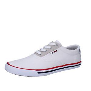 quality design 7a297 a4f30 Dettagli su scarpe uomo TOMMY HILFIGER DENIM 40 EU sneakers bianco tessuto  AB947-B