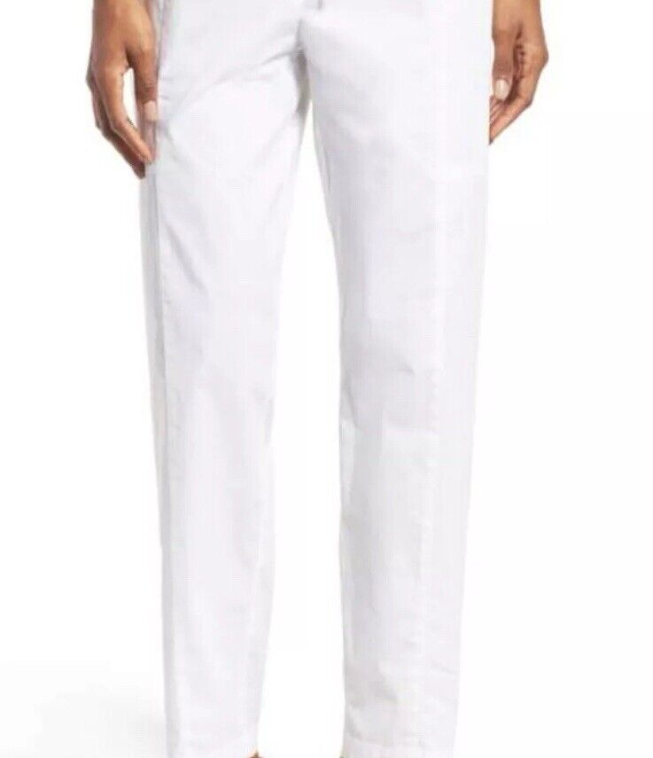 """Small NWT Eileen Fisher LINEN White Ankle Wide Leg Pant Long 32"""" Inseam"""