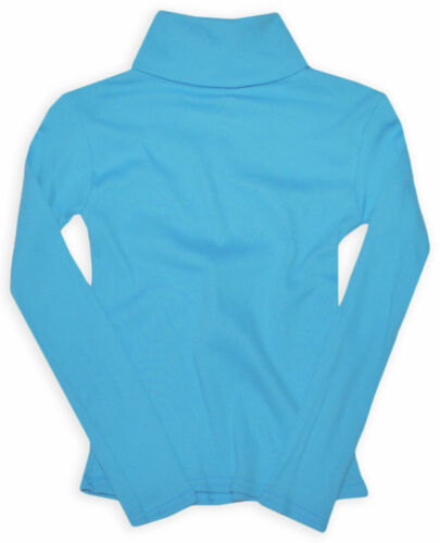 Girls Ribbed Polo Neck Jumper Tops New Baby Kids Long Sleeve Shirt Ages 0-14 Y