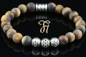 Tigerauge-matt-Armband-Bracelet-Perlenarmband-Silber-Beads-braun-8mm