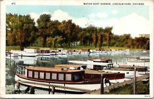 Chicago-Illinois-Lincoln-Park-Excursion-Motor-Boat-Harbor-Docks-1920s-Postcard