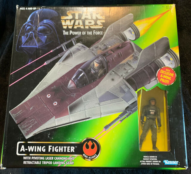 STAR WARS POTF POWER OF THE FORCE A-WING FIGHTER / PILOT KENNER 1997 NEW SEALED