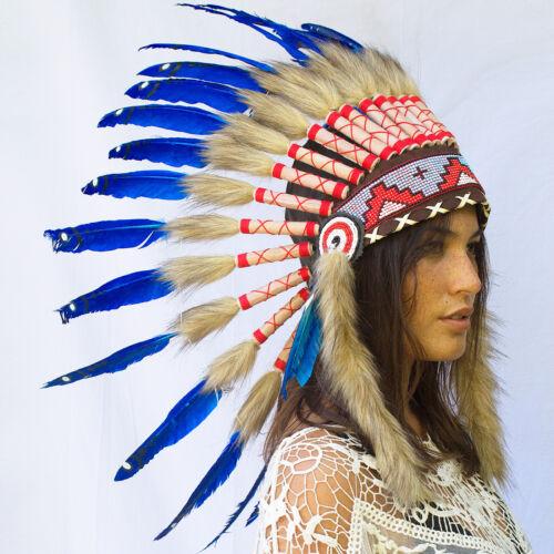 Native American Indian Inspired Feather Headdress ADJUSTABLE Dark Blue Duck