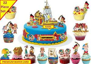 Outstanding Jake The Neverland Pirates Ship Cup Cake Scene Topper Edible Funny Birthday Cards Online Elaedamsfinfo