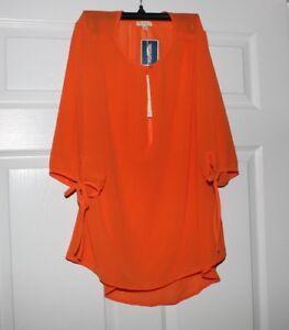 vente chaude réel chaussures de tempérament meilleures baskets Details about NWT Antila Femme Women's Orange Blouse Size XL