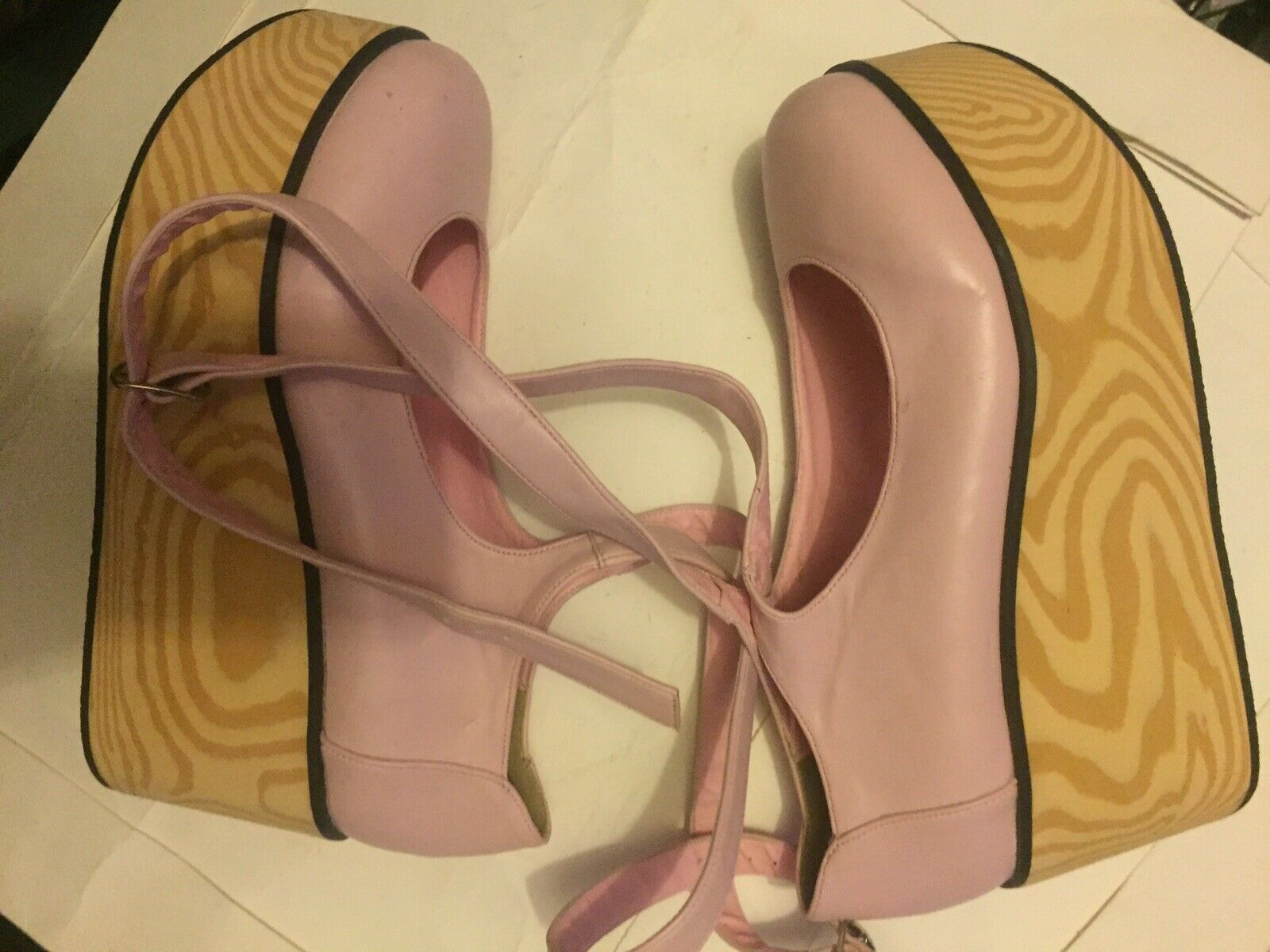 Women Faux Leather Wedge Pink Ankle Strap Shoe Sz 38