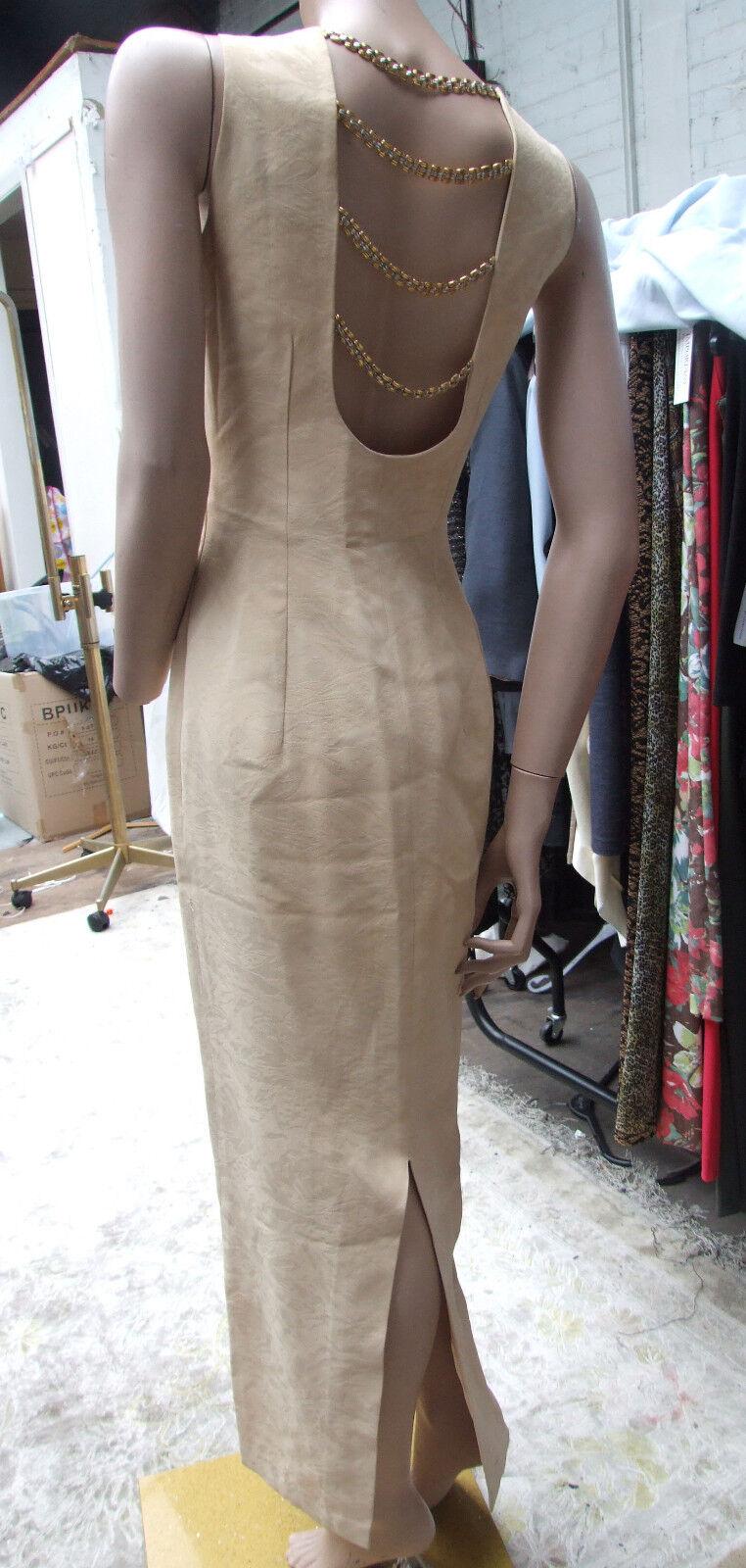 Sierra Designs London Sensational Long Beige Evening Open Back Dress with Chains