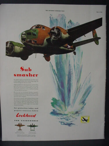 1943 Lockheed Hudson Bomber smashes Submarines GreatColor Vintage Print Ad 12435