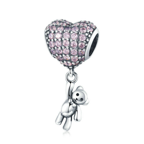 Women 925 Silver CZ Charm Beads Pendant Fit sterling Bracelet Necklace Chain