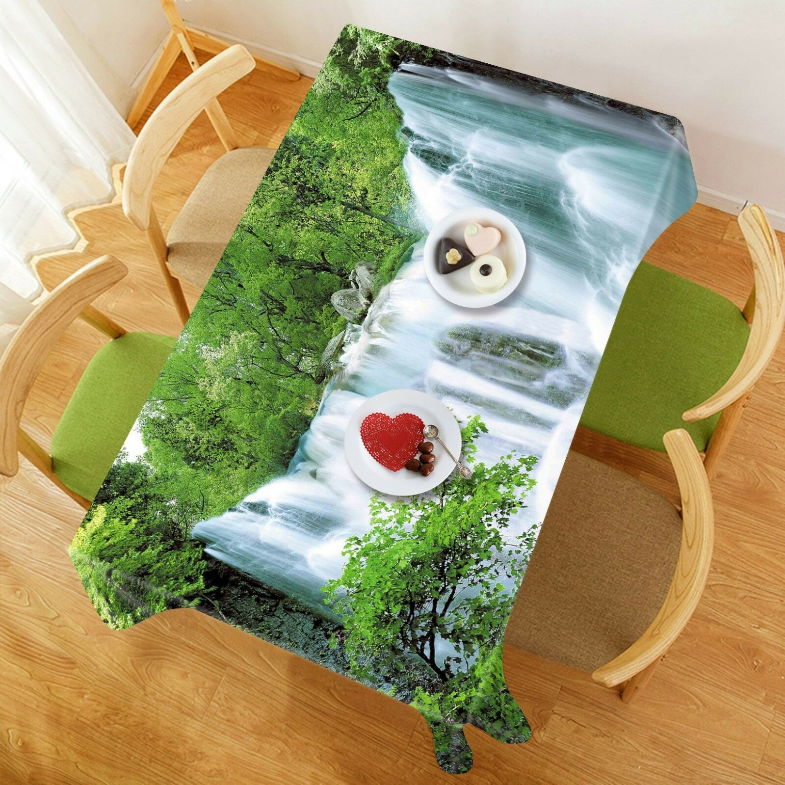 3D Waterfall Plant 3 Tablecloth Table Cover Cloth Birthday Party Event AJ Summer