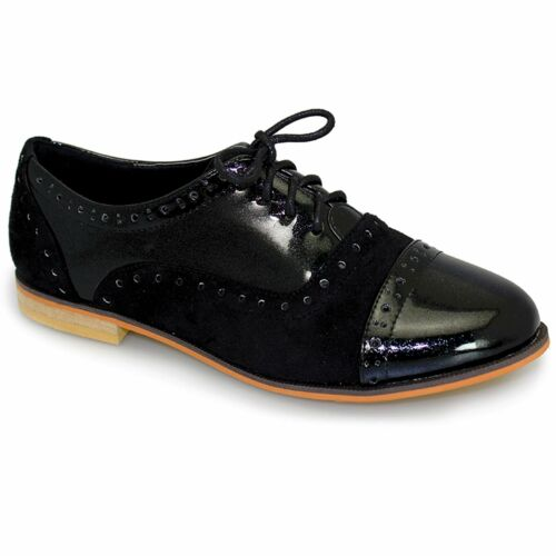 Details about  /Ladies Lace Up Patent Contrast Flat Low Heel Smart Office School Brogue Shoes