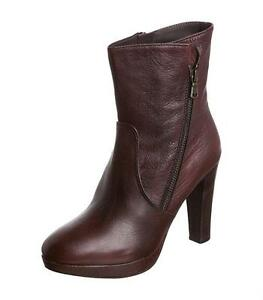 Plateau Leather Uk Liebeskind Heel Red Brown 40 7 Size Dark Ankle Boots New qItwHa