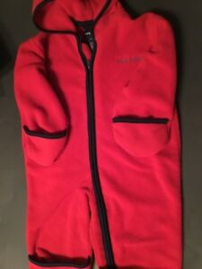 Outerwear Original Ralph Lauren Baby Bunting S/m Fleece Hooded Red Unisex #108/ Rapid Heat Dissipation