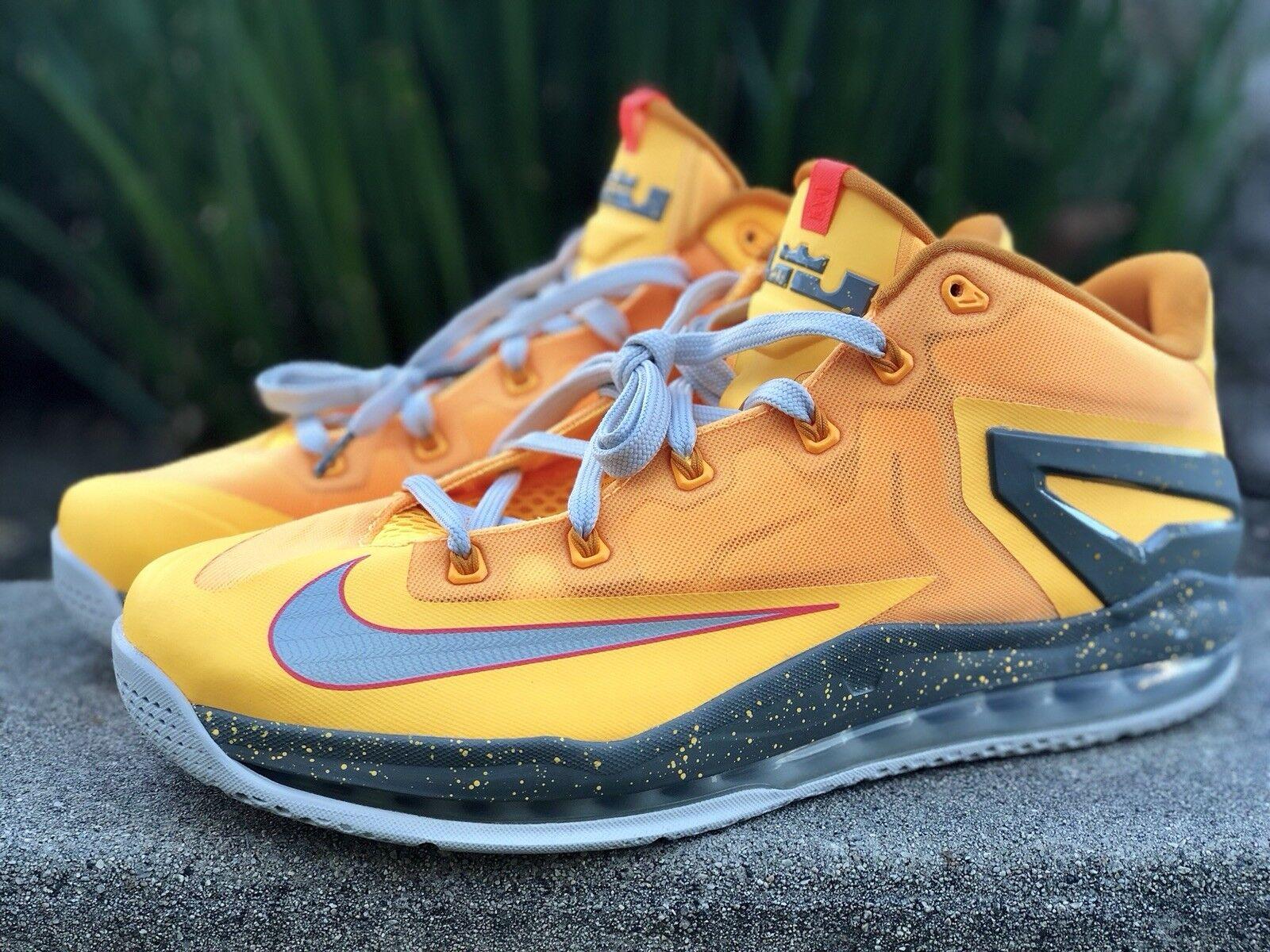 Nike LeBron 11 bajo gris los floridanos Atomic mango gris bajo Kumquat en hombre Talla 12 c5e9e5