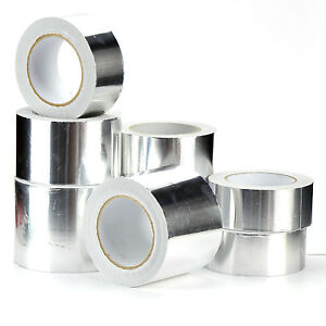 50mm Aluminium Foil Tape Self Adhesive Silver Duct Heat Insulation Reflective
