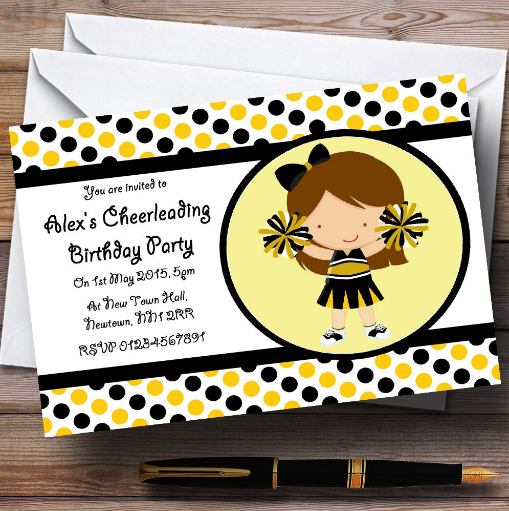 Cheerleading Personalised Birthday Party Invitations - TH110
