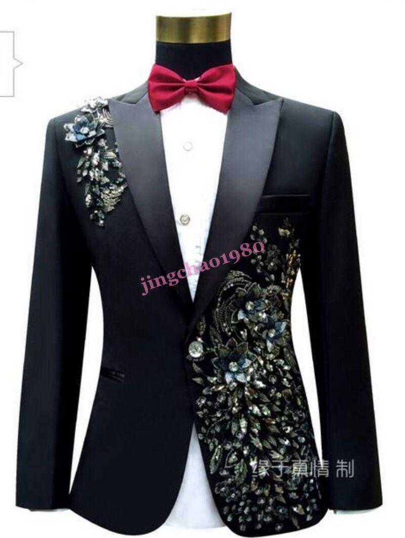 Ji Mens Wedding Floral Clubwear Formal Embroider Rhinestone Blazer Dress Coats