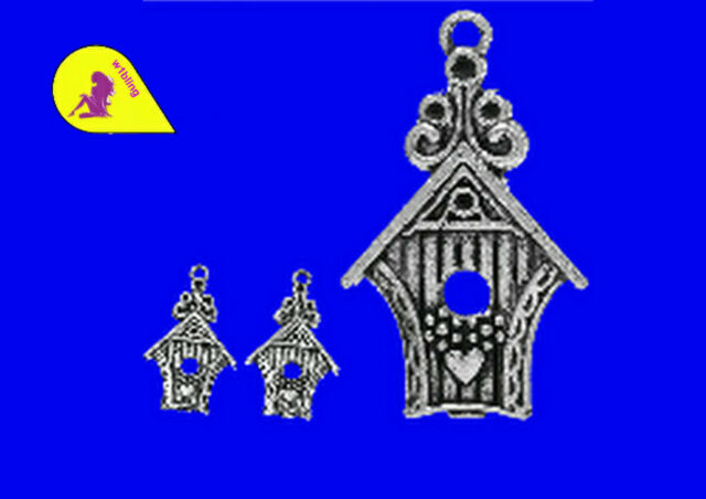 10  Bird House / Box 30 mm x 19  A371 Antiqued Silver P & P £1 per delivery