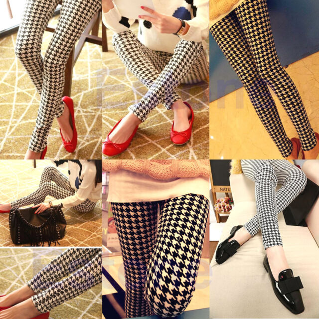 New Sexy Casual Women Leggings Stretchy Pencil Pants Black White