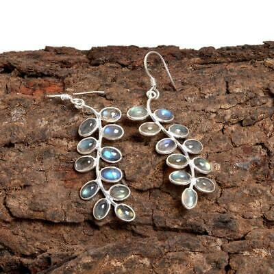 Silver 925 Earrings Silver Gemstone Earrings Genuine Labradorite Earrings Natural Labradorite Gemstone Earrings J610