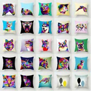 Pillow-Case-Cover-Sofa-Waist-Cushion-Cover-Home-Decor-Rainbow-Animal-Polyester