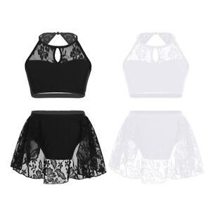 UK-Kids-Girls-Sequined-Ballet-Dance-Dress-Lyrical-Modern-Latin-Dancewear-Costume