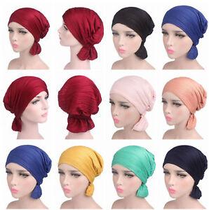 Fashion Women Cotton Stretch Ruffle Chemo Hat Beanie Turban Headwear ... 0893d6f5585