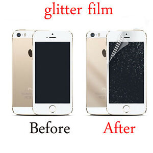 new style 30214 0f51f Details about Front/Back Silver Glitter Screen Protector Film CoverS For  iPhone 5S 6S 7Plus SE